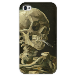 """Чехол для iPhone 4 глянцевый, с полной запечаткой """"Череп с горящей сигаретой"""" - картина, ван гог"""
