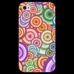 """Чехол для iPhone 4 глянцевый, с полной запечаткой """"Цветные круги"""" - узор, рисунок, орнамент, абстракция, круги"""