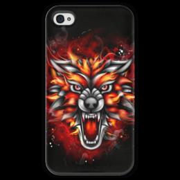 """Чехол для iPhone 4 глянцевый, с полной запечаткой """"Wolf & Fire"""" - огонь, волк, fire, дым, wolf"""