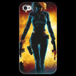 """Чехол для iPhone 4 глянцевый, с полной запечаткой """"Black Widow (Мстители)"""" - комиксы, мстители, черная вдова, the avengers, black widow"""