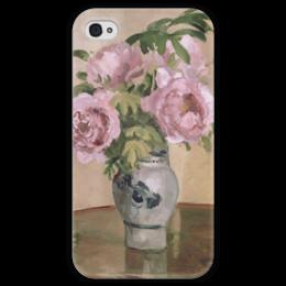 """Чехол для iPhone 4 глянцевый, с полной запечаткой """"Розовые пионы"""" - картина, писсарро"""