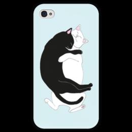 """Чехол для iPhone 4 глянцевый, с полной запечаткой """"Гармония"""" - любовь, cat, cute, нежность, sleeping, котики, hugs, гармония, black n white, объятья"""