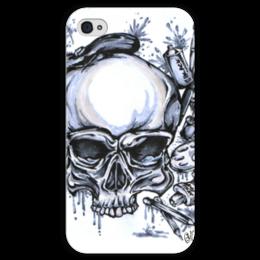 """Чехол для iPhone 4 глянцевый, с полной запечаткой """"череп художник"""" - череп, арт, стиль, рисунок, художник"""