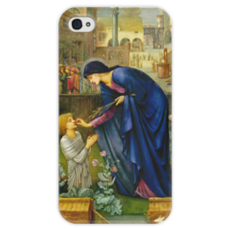"Чехол для iPhone 4 глянцевый, с полной запечаткой ""Сказка настоятельницы (The Prioress's Tale)"" - картина, бёрн-джонс"