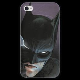 """Чехол для iPhone 4 глянцевый, с полной запечаткой """"Бэтмен"""" - комиксы, batman, бэтмен, dc, dc comics"""