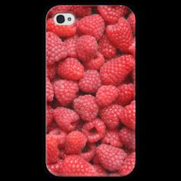 """Чехол для iPhone 4 глянцевый, с полной запечаткой """"Малина"""" - ягоды, малина, raspberry"""