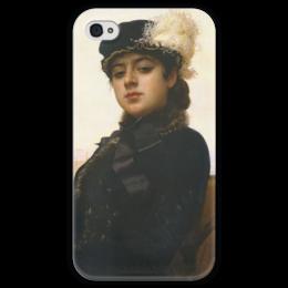 """Чехол для iPhone 4 глянцевый, с полной запечаткой """"Неизвестная (картина Крамского)"""" - картина, крамской"""