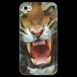 """Чехол для iPhone 4 глянцевый, с полной запечаткой """"Polygon tiger"""" - кот, хищник, тигр, оскал, полигон"""