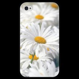 """Чехол для iPhone 4 глянцевый, с полной запечаткой """"Ромашки"""" - цветы, цветок, белый, ромашка, желтый"""