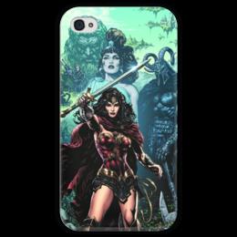 """Чехол для iPhone 4 глянцевый, с полной запечаткой """"Чудо-Женщина (Wonder Woman)"""" - комиксы, dc comics, чудо-женщина, justice league, лига справедливости"""