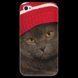 """Чехол для iPhone 4 глянцевый, с полной запечаткой """"котей"""" - кот, cat, cat in a hat"""