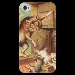 """Чехол для iPhone 4 глянцевый, с полной запечаткой """"Волк и семеро козлят"""" - картина, лёйтеманн"""
