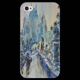 """Чехол для iPhone 4 глянцевый, с полной запечаткой """"Карлов мост"""" - красота, вечер, чехия, прага, карлов мост"""