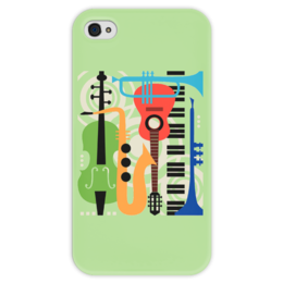 """Чехол для iPhone 4 глянцевый, с полной запечаткой """"Музыкальные инструменты"""" - музыка, гитара, скрипка, инструменты, саксафон"""