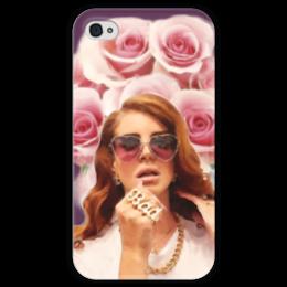 """Чехол для iPhone 4 глянцевый, с полной запечаткой """"Lana Del Rey"""" - lana del rey, лана дель рей, портрет, розы"""