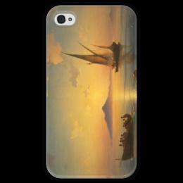 """Чехол для iPhone 4 глянцевый, с полной запечаткой """"Неаполитанский залив"""" - картина, айвазовский"""