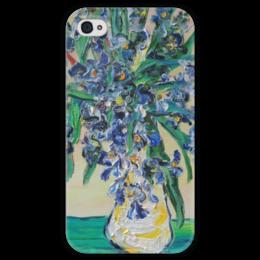 """Чехол для iPhone 4 глянцевый, с полной запечаткой """"Ирисы"""" - весна, ирисы, цветочки, май, букет"""