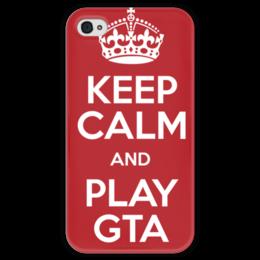 """Чехол для iPhone 4 глянцевый, с полной запечаткой """"GTA 5"""" - игры, gta, гта, про игры, с играми"""