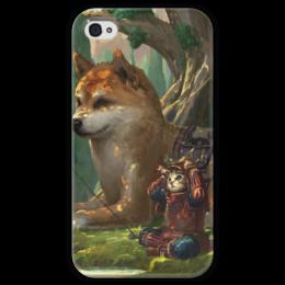 """Чехол для iPhone 4 глянцевый, с полной запечаткой """"Samurai cat"""" - самурай, doge, сиба ину, доге"""