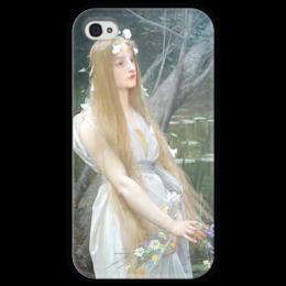 """Чехол для iPhone 4 глянцевый, с полной запечаткой """"Офелия (Ophelia)"""" - картина, лефевр"""