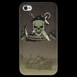 """Чехол для iPhone 4 глянцевый, с полной запечаткой """"МОРСКАЯ ПЕХОТА!!!"""" - якорь, нож, сила, чёрный берет, морская пехота"""