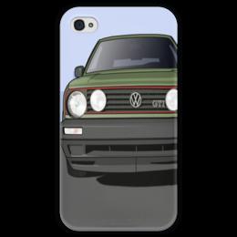 """Чехол для iPhone 4 глянцевый, с полной запечаткой """"VW Golf MK2"""" - vw, volkswagen"""