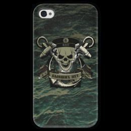 """Чехол для iPhone 4 глянцевый, с полной запечаткой """"ФЛОТ!!!"""" - череп, якорь, флаг, флот, бескозырка"""