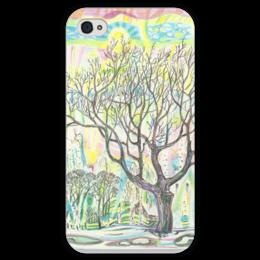 """Чехол для iPhone 4 глянцевый, с полной запечаткой """"Sunny Jonn"""" - арт, модно, стиль, рисунок, весна, ярко, в подарок, девушке, spring, tree"""