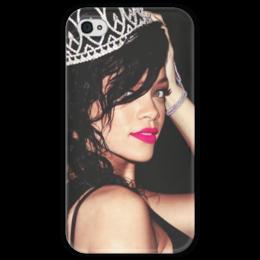 """Чехол для iPhone 4 глянцевый, с полной запечаткой """"Rihanna"""" - знаменитости, рианна"""