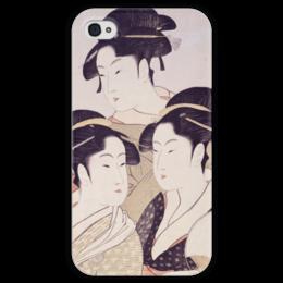 "Чехол для iPhone 4 глянцевый, с полной запечаткой ""Три знаменитые красавицы (Китагава Утамаро)"" - картина, утамаро"