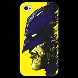 """Чехол для iPhone 4 глянцевый, с полной запечаткой """"Бэтмен"""" - комиксы, batman, бэтмен, dc, dc comcis"""