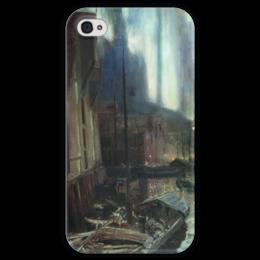 """Чехол для iPhone 4 глянцевый, с полной запечаткой """"Геммерфест. Северное сияние"""" - картина, коровин"""