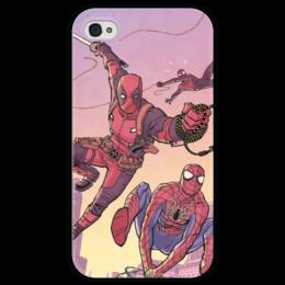 """Чехол для iPhone 4 глянцевый, с полной запечаткой """"Дэдпул (Deadpool)"""" - комиксы, spider-man, марвел, человек-паук, питер паркер"""