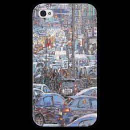 """Чехол для iPhone 4 глянцевый, с полной запечаткой """"Охотный ряд"""" - арт, москва, город, пейзаж, живопись"""