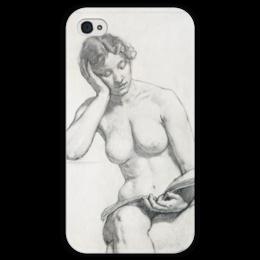 """Чехол для iPhone 4 глянцевый, с полной запечаткой """"Kenyon Cox nude study"""" - картина, кокс"""