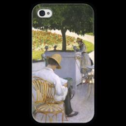 """Чехол для iPhone 4 глянцевый, с полной запечаткой """"Апельсиновые деревья (картина Кайботта)"""" - картина, кайботт"""