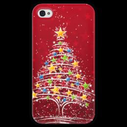 """Чехол для iPhone 4 глянцевый, с полной запечаткой """"Новогодняя елочка"""" - арт, в подарок, christmas tree"""