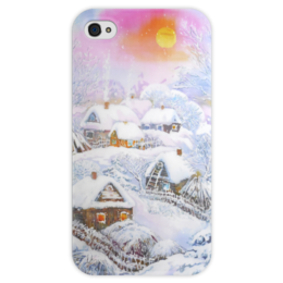 """Чехол для iPhone 4 глянцевый, с полной запечаткой """"Зимушка-зима"""" - снег, природа, зима, живопись"""