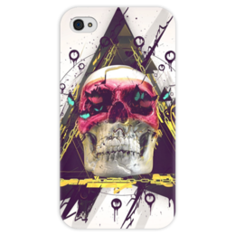 "Чехол для iPhone 4 глянцевый, с полной запечаткой ""Skull in triangle"" - skull, череп, swag, иллюминаты, illuminati"