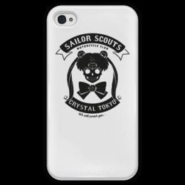 """Чехол для iPhone 4 глянцевый, с полной запечаткой """"Сейлор мун череп"""" - череп, аниме, sailor moon, сейлор мун"""