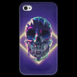 """Чехол для iPhone 4 глянцевый, с полной запечаткой """"Low poly skull"""" - skull, череп, полигон"""