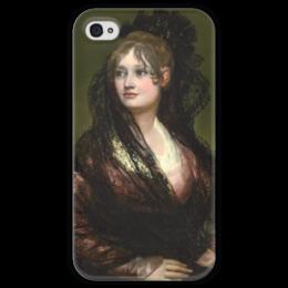 """Чехол для iPhone 4 глянцевый, с полной запечаткой """"Портрет донны Исабелъ де Порсель"""" - картина, гойя"""