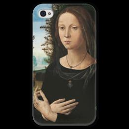 """Чехол для iPhone 4 глянцевый, с полной запечаткой """"Портрет молодой женщины"""" - картина, креди"""