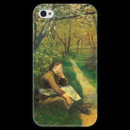 """Чехол для iPhone 4 глянцевый, с полной запечаткой """"Весна (картина Башкирцевой)"""" - картина, башкирцева"""