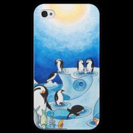 """Чехол для iPhone 4 глянцевый, с полной запечаткой """"Lollypups #11 (the pinguins) """" - арт, синий, пингвин"""