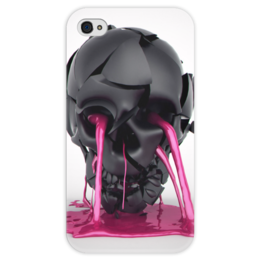 "Чехол для iPhone 4 глянцевый, с полной запечаткой ""Plastic skull"" - skull, череп, краска, paint"