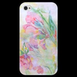 """Чехол для iPhone 4 глянцевый, с полной запечаткой """"Мальва. Декор"""" - цветок, розовый, оригинальный, акварель, нежный"""