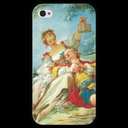 """Чехол для iPhone 4 глянцевый, с полной запечаткой """"Счастливые любовники"""" - картина, фрагонар"""