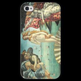 """Чехол для iPhone 4 глянцевый, с полной запечаткой """"Рождение Венеры (Сандро Боттичелли)"""" - картина, боттичелли"""
