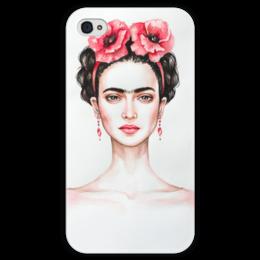 """Чехол для iPhone 4 глянцевый, с полной запечаткой """"Фрида"""" - портрет, фрида кало, фрида, художница, мексиканка"""